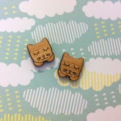 Bamboo Kitty Laser Cut Earring Supplies 6 pairs by CraftyCutsLaser, $8.00