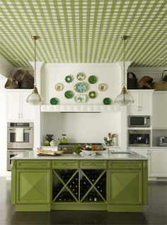 How to Choose New Kitchen Light Fixtures - Green country kitchen on HomePortfolio @gideonmendelson