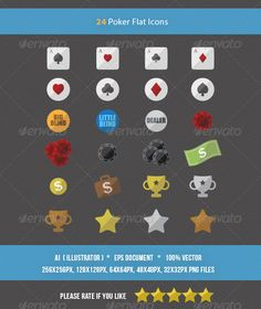 24 Flat Poker Icons — Vector EPS #casino #poker icons • Available here → https://graphicriver.net/item/24-flat-poker-icons/5854155?ref=pxcr