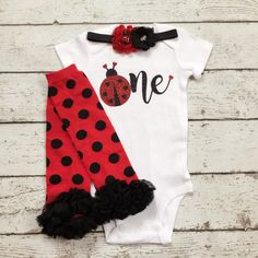 First Birthday outfit/Ladybug 1st Birthday/Garden Party/Red