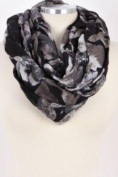 Floral Art Infinity Scarf (Black) – Bag Brag Co.