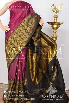 ce89025221230 Magenta And Black Pure Silk Kanchivaram Silk Saree With Rich Zari pallu And Contrast  Blouse.