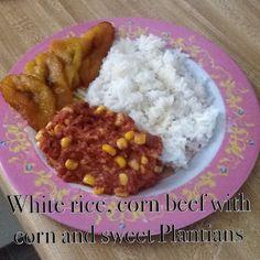 For dinner Puerto Rican Recipes, Corned Beef, White Rice, Oatmeal, Spanish, Homemade, Dinner, Breakfast, Sweet
