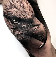 You wanna an eagle tattoo and you can not decide which one you should? We picked the best 50 eagle tattoo designs, look and inspire wi. Cool Forearm Tattoos, Head Tattoos, Body Art Tattoos, Sleeve Tattoos, Cool Tattoos, Wing Tattoos, Portrait Tattoos, Animal Sleeve Tattoo, Bicep Tattoo Men
