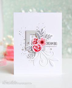 Mini Modern Blooms, Distressed Patterns, Mini Modern Blooms Die-namics, Pierced Square Frames Die-namics, Simple Leaf Flourishes Die-namics - Kay Miller   #mftstamps