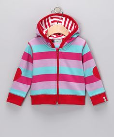 Hoodies are an absolute must #fall essential, love the stripes! #zulily  Pink Stripe Zip-Up Hoodie