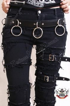 PUNK EMO dünn Fray Buckle Stretch schwarz Denim von runnickyrun