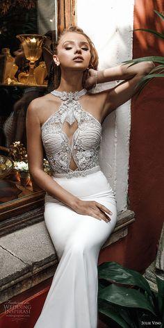 julie vino spring 2018 bridal sleeveless halter neck heavily embellished bodice elegant chic fit and flare sheath wedding dress rasor back chapel train (11) zv -- Julie Vino Spring 2018 Wedding Dresses