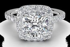 Halo Engagement Ring Round Center Stone Cathedral Setting 49