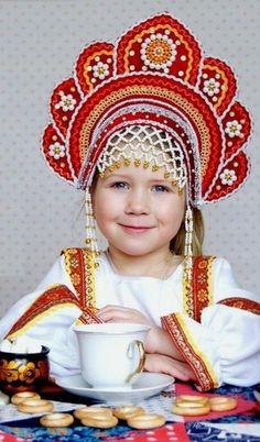 Little Russian girl in a traditional kokoshnik headdress. #cute #kids