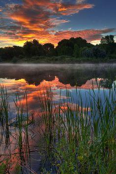 Misty Morning Sunrise - Chatfield State Park, Littleton, Colorado