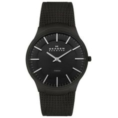 Skagen Men's 694XLTMB Titanium Black Mesh Watch Skagen. $140.00. Black Dial with White Hands and Hour Markers; Luminous. Water Resistant to 99 Feet (30 Meters). Large Case Size. Japanese Quartz Movement. Mineral Crystal; Brushed Titanium Case; Black Mesh Stainless Steel Bracelet