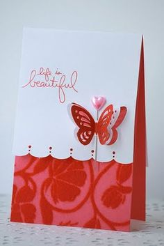 Clear embossing on card base. Martha Stewart butterfly. Sentiment. Have all the stuff! Yay!