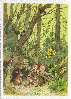 The Faerie Folk: Photo Easter Illustration, Children's Book Illustration, Illustration Children, Easter Drawings, Baumgarten, Elves And Fairies, Fairytale Art, Vintage Easter, Fairy Art