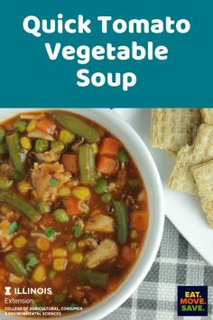 So quick and easy and only 5 ingredients! #easydinner #5ingredientmeal #10orlessingredients #soup #vegetablesoup