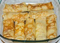 Příprava: Smíchejte si vejce s cukrem. Přidejte škrob a míchejte, dokud nezmizí všechny hrudky. Přidejte mléko a slunečnicový olej. Promíchejte, nechte odstát 15 minut. Pánev potřete slunečnicovým olejem nebo plátkem slaniny. Palačinky smažte pouze z jedné strany! Připravte si nádivku: Do tvarohu přidejte cukr a 1 vejce. Mák a rozinky jsou volitelné. Palačinky naplňte nádivkou … Czech Recipes, Russian Recipes, Ethnic Recipes, Eastern European Recipes, European Cuisine, Tasty, Yummy Food, Polish Recipes, Thing 1