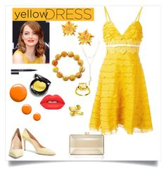 """""""YELLOW"""" by dellio ❤ liked on Polyvore featuring Topshop, Giambattista Valli, Casadei, Judith Leiber, Lime Crime, Stila, Moschino, Jean Mahie and Bloomingdale's"""