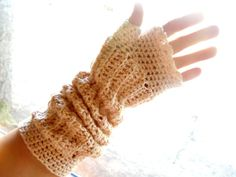 Long Fingerless GlovesUpcycled Cotton Gold by moonflowercreations, $30.00