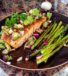 Pan avocado lime salmon and asparagus[oc] #food #foodporn #recipe #cooking #recipes #foodie #healthy #cook #health #yummy #delicious