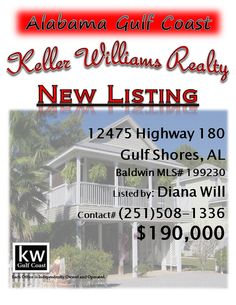12475 Highway 180, Gulf Shores, AL...MLS# 199230...$190,000...2 Bed, 2 Bath...Beautifully maintained beach house w/new wood ceiling, boat parking, tons of storage & little maintenance! This home shows the pride of ownership from it's only owners & is part of a great community w/clubhouse & boat launch, fishing pier & amazing atmosphere! Home has irrigation, covered boat & vehicle parking & a great screened in porch! The sellers will sell furnished too! Contact Diana Munoz Will at 251-508-13...