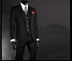 Single Breasted Wool Business Suit For Men, Black, 3pcs, 1-Button, S-3XL-Suit-LeStyleParfait.Com