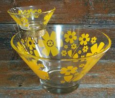 Retro Mid Century Vintage Anchor Hocking Glass Chip and Dip Bowl, Vintage Anchor Hocking Bowls, Retro Funky Flower Salad Bowl by EmptyNestVintage on Etsy