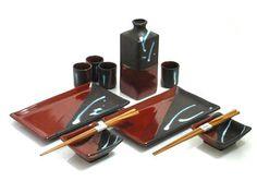 Saddle Brown Sake/Sushi Set - Unique Gift for Wedding, Birthday, or Anniversary