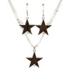 black glitter star necklace and earring set