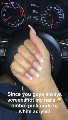 Ombré Pink Nude to White Acrylic Nails : Lisette (Snapchat: luhhsettyxo, YT: luhhsetty) #pinkandwhitenails #AcrylicNailsAlmond Acrylic Nails Natural, White Acrylic Nails, White Nails, White Acrylics, Short Acrylics, Natural Nails, New Nail Designs, Acrylic Nail Designs, Art Designs