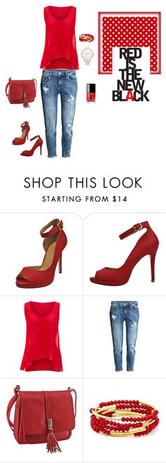 """""""Radiant Red"""" by luxurydivas ❤ liked on Polyvore featuring jon & anna, H&M, Chrysalis, Topshop, Chanel, red, redheels, RedHandbag and LUXURYDIVAS"""