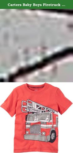 Carters Baby Boys Firetruck Tee Red 12M. Crafted with soft cotton and a kid-friendly graphic, this tee makes getting dressed fun! -- Short sleeves -- Ribbed neckline -- Screen-printed graphic -- 100% cotton jersey -- Imported -- Machine washable -- Also available in Toddler Boy -- Boy.