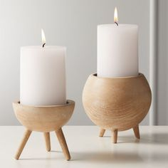 russell wood pillar candle holder holder fireplace Home Accessories Unique Candle Holders, Wooden Candle Holders, Unique Candles, Candle Holder Set, Candle Stand, Tealight Candle Holders, Round Candles, Pillar Candles, Whitewash Wood
