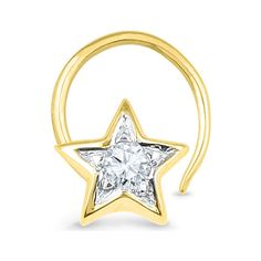 Jpearls Diamond Star Nose Pin | Designer Nose Pins in Gold and Diamond