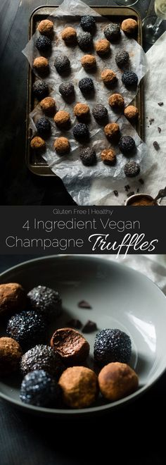 Vegan Champagne Truffles - These 5 ingredient, vegan truffles use a secret, heart-healthy ingredient to make them so creamy and only 60 calories! A little champagne makes them perfect for New years Eve! | Foodfaithfitness.com | @FoodFaithFit