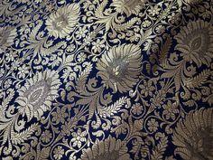 Navy Blue Gold Weaving Brocade Fabric Banarasi Silk Fabric | Etsy Rustic Wedding Dresses, Modest Wedding Dresses, Elegant Wedding Dress, Wedding Gowns, 2017 Wedding, Wedding Blue, Dream Wedding, Gypsy Wedding, Hair Wedding