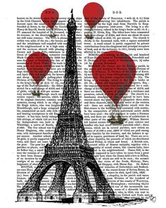 Eiffel Tower & Vintage Hot Air Balloons (FabFanky)