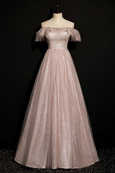 Pretty Prom Dresses, Pink Prom Dresses, Prom Dresses With Sleeves, A Line Prom Dresses, Lace Evening Dresses, Homecoming Dresses, Pink Dress, Cute Dresses, Pink Tulle