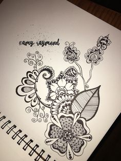 #doodle 10/31/16 By Amy Raymond. #zentangle #sketched #micron #flowers #sharpie #draw #bw