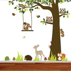 Forest woodland kids vinyl wall decal nursery by wallartdesign, $125.00
