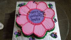 Pink Flower Cut Out Cake