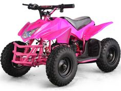 Big Toys USA MT-ATV5_Pink MotoTec 24v Mini Quad Titan v5 Pink. The MotoTec 24v Mini Quad Titan v5 is the ultimate kids atv! Great for driveway and backyard fun, cruise over bumps and speed through dirt trails with ease. Comes standard with front & rear suspension, front & rear brakes and large 13 inch knobby pneumatic tires. This mini quad provides longer ride times than the competition with TWO large 12v 12amp hour batteries. New features include: headlight, key start, battery meter…