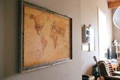 Make a DIY corkboard map to document your travels! This DIY map art is fun and easy and inexpensive to make. Cork Board Map, Cork Map, Cork Boards, Travel Map Pins, Travel Wall, Cork Board Ideas For Bedroom, Map Projects, Map Globe, Ideas Hogar