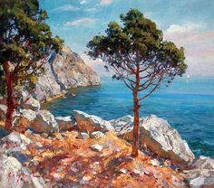 Painting «Not titled Seascape Paintings, Landscape Paintings, Watercolor Paintings, Watercolor Landscape, Abstract Landscape, Beautiful Paintings, Beautiful Landscapes, Cityscape Art, Watercolor Pictures