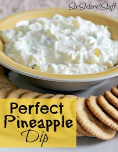 Perfect Pineapple Dip    Ingredients:  8 oz Fatfree Cream Cheese, softened  3/4 can crushed pineapple, drained  4 green onions, chopped  pinch of salt    Directions:  Mix all ingredients together. Spread on crackers or dip the crackers in!    Looking for other dips? Here are some delicious ones!!!