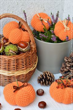 Wicker Baskets, Halloween Decorations, Picnic, Home Decor, Crochet Tutorials, Crocheting, Fall, Cactus, Crochet