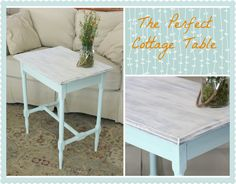 Perfect Beach Cottage Table! Painted with a look of old, weathered wood on top and beachy blue-green on bottom.