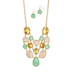 Tropical Breeze Statement #Necklace and Earring Set. #New at www.deannasbeautyonline.com. #jewelry