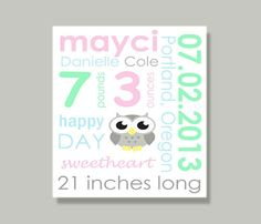 Custom Canvas Birth Announcement by Colecanvasexpression on Etsy, $25.00