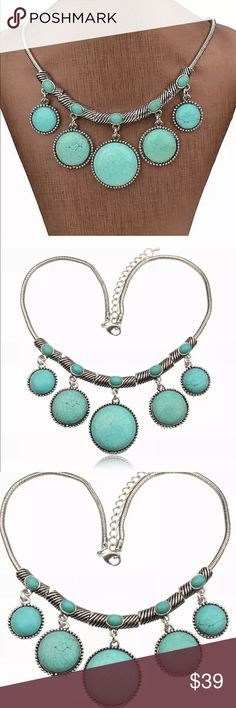 Turquoise bubble glam necklace Turquoise bubble glam necklace. New in package Jewelry Necklaces