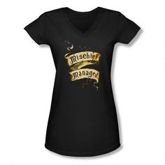 Harry Potter Mischief Managed Banner Women's Fitted Black V-neck T-Shirt This Harry Potter v-neck t-shirt features the password to close the Marauder's Map, Mischief Managed, on a banner. (for Mom or me?)